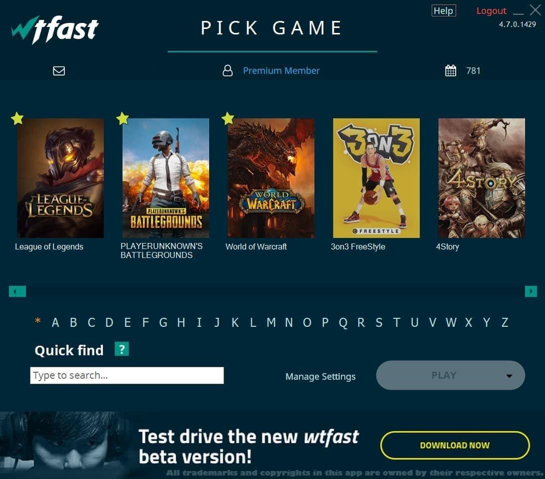 تصویری از سایت WTFast