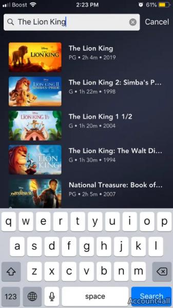 فیلم مورد نظرتون رو در Disney+ سرچ کنید