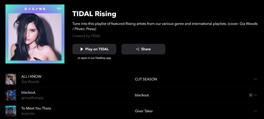 Tidal Rising در اکانت Tidal