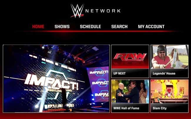 نمایی از وبسایت پخش کشتی کج WWE Netowrk